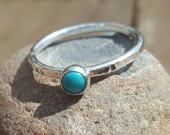 Sterling Silver 925 Textured Ring with Turquoise Cabochon (Made-to Order) By SilverbirdDesignsUK