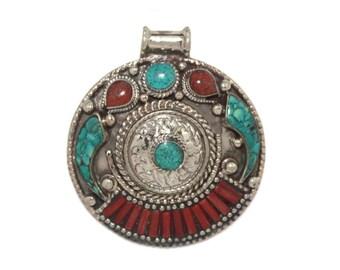 Coral Pendant Turquoise Pendant Nepal Pendant Nepalese pendant Tibetan Pendant Tibet Pendant Boho Pendant Bohemian pendant Gypsy PB77