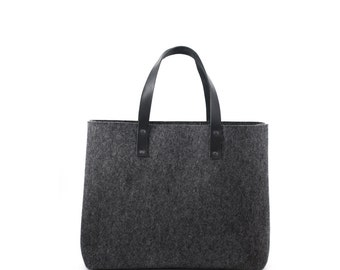 Wool Felt and Leather Tote Bag, Carry All, Shopper Tote, Women's Bag, Leather Men's Bag, Laptop Bag, MacBook Bag, Handmade, UK,