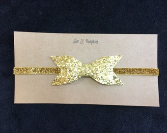Glitter Bow Headband on Glitter Elastic Headband with Thin Gold Glitter Bow for Baby Girl - Gold - White - Wedding - Birthday - Party - Baby