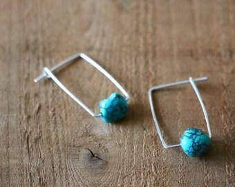 Turquoise Earrings /// December Birthstone, Turquoise, Blue Turquoise, lightweight earrings, gift for her,Unique earrings,modern earrings