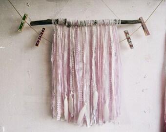 Boho Wall Hanging Laces Banner - Shabby Bohemian Decor - Gypsy Bedroom - Country Decor - Pastel Boho Nursery - Boho Vintage - Driftwood