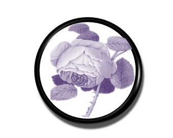 Purple Cabbage Rose Door Knob - Violet, Victorian Cottage, Garden, Flower, Floral Toile - Dresser Knob, Bathroom Cabinet - 1214PICK