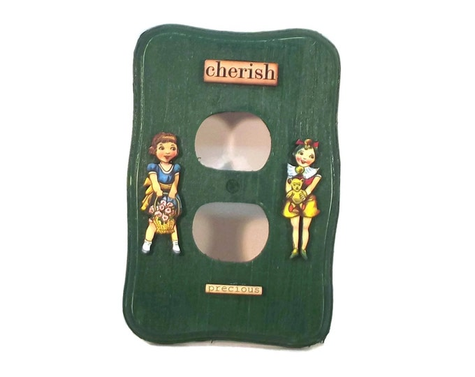 Cherish Precious Girls Green Outlet Cover, Handmade, Hand Painted, OOAK, One of a Kind