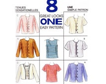 """Pullover Top, Back Keyhole Opening, Jewel or V-Neckline, Front Button Jacket Sewing Pattern Misses Size 12, 14 Bust 36"""" Uncut McCall's 8155"""