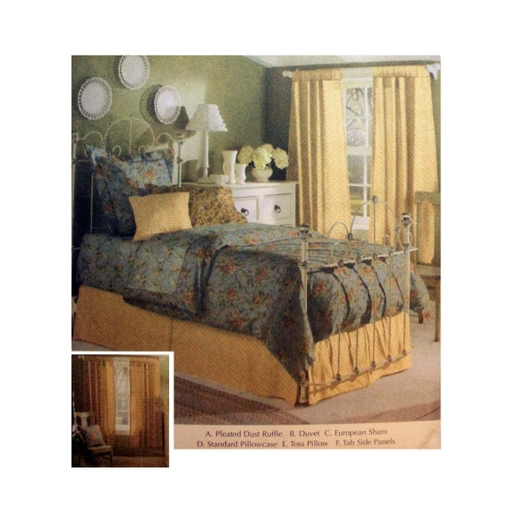 easy bedding bedroom accessories sewing pattern dust ruffle duvet cover pillow shams uncut home decorating oop simplicity 5600 from purpleplaidpenguin - Home Decorating Bedding