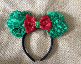 Mouse Ears- Christmas-December-Holiday Headband- Halloween costume,dress up,photo prop,red and green,party headband,