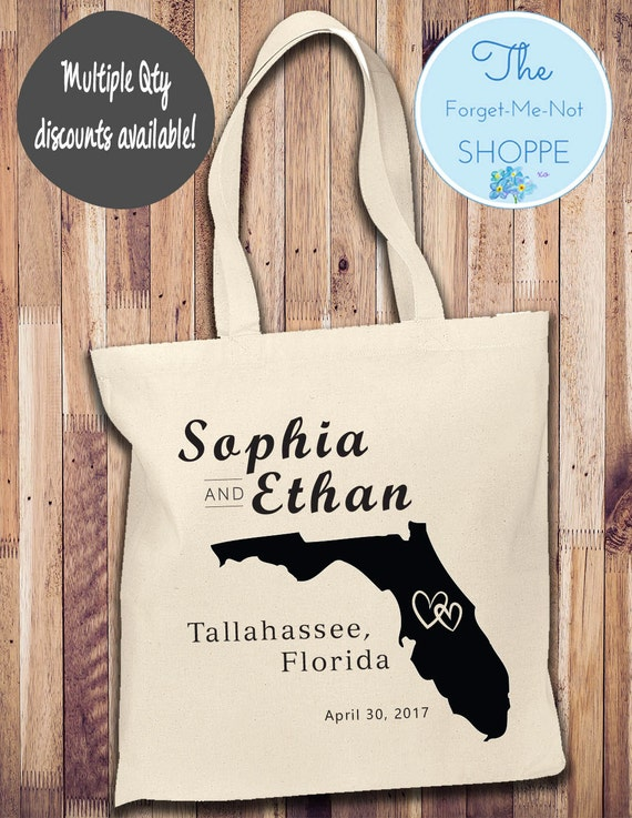 Any State Canvas Tote Bags, State Bachelorette Totes, Florida Bachelorette, Wedding Favor Bags, Tropical, Married, Gifts, Favors, wedding