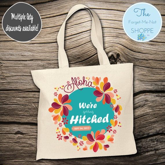 "Beach ""Aloha"" Wedding Tote Bag ~ Bride to Be tote bag, Nautical, bachelorette ,Mother,  party tote, Wedding Favor, Gift Tote"