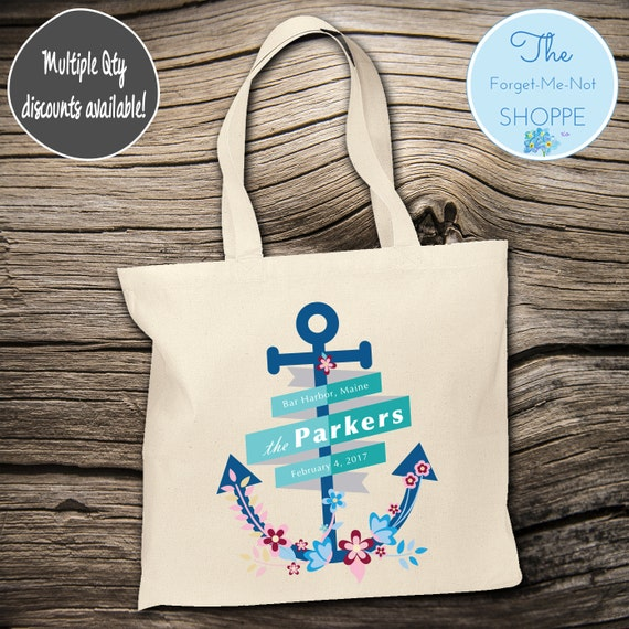 Beach Flower Anchor Wedding Tote Bag ~ Bride to Be tote bag, Nautical, bachelorette ,Mother,  party tote, Wedding Favor, Gift Tote