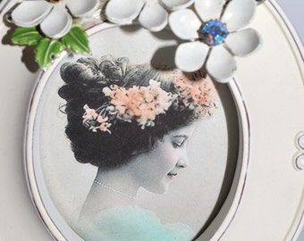 Vintage JEWELRY PICTURE FRAME Embellished and Repurposed Jewelry Frame  4 X 5