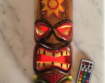 """12"""" Tiki Wooden Mask with added multi-color remote controlled LED"""