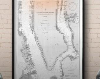 New York Map Print poster : Vintage 20th C. Nautical Survey Map - Hudson River
