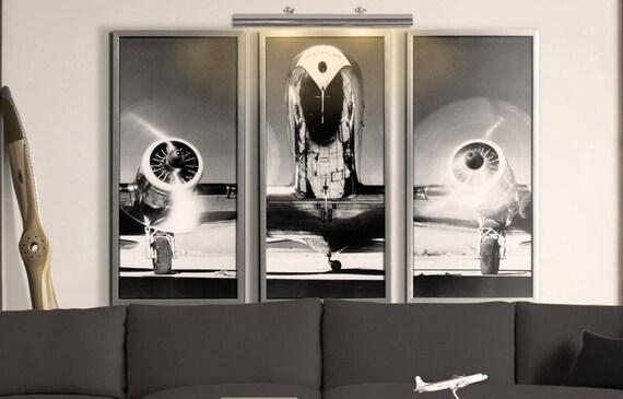 Airplane Art Print Vintage Airplane Art Airplane Triptych