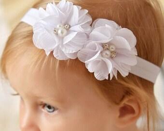 White Headband Baptism Headband Christening Headband Baby Girl Headband White Flower Headband Flower Girl Headband Baby Headband Photo Prop