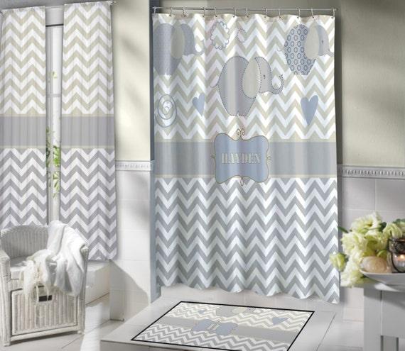 Gray And White Chevron Shower Curtain Elephant Shower