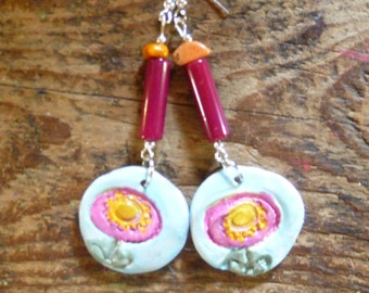 OOAK clay pendant earrings