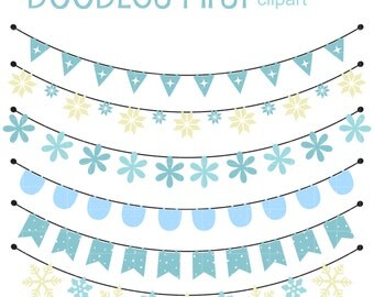 Winter Buntings Clip Art for Scrapbooking Card Making Cupcake Toppers Paper Crafts