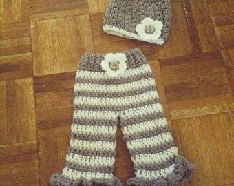 Hand Crochet Hat and Pants Set // Stocking Cap, Beanie, or Bonnet // Fits 0-3 Months // Newborn Baby Infant Photo Prop // Handmade Crochet