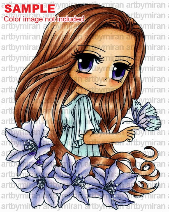 Digital Stamp - Sophia (#277), Digi Stamp, Coloring page, Printable Line art for Card and Craft Supply