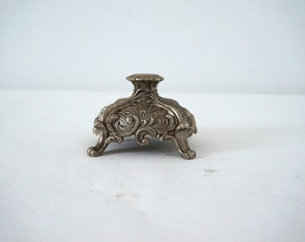 Vintage Cast Aluminum Footed Ornate Metal Lamp Base for Repurpose / Two Available
