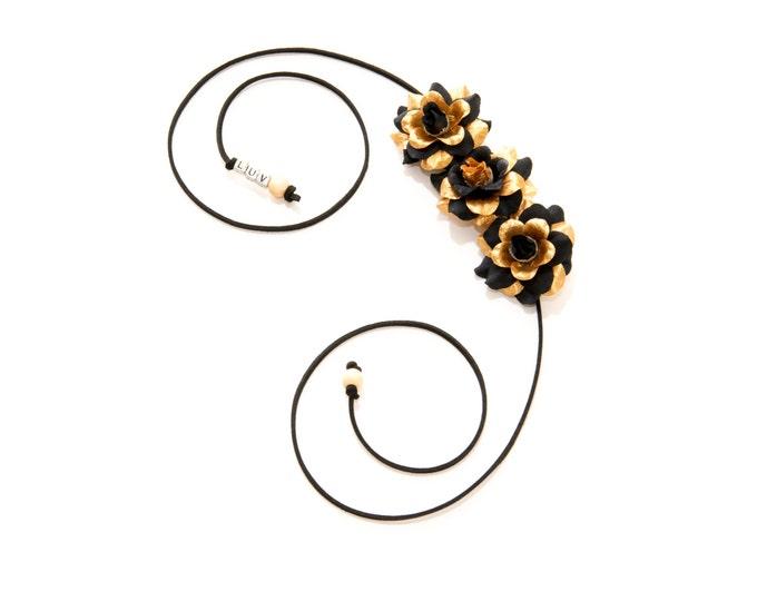 Black Gold Rose Side Flower Crown
