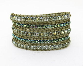 Green crystal wrap bracelet on soft ivory polyester cord, metallic green crystal