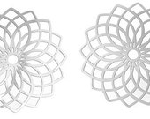 Sturdy Stainless Steel Filigree Embellishments Findings, Flower Silver Tone - 2 Pieces