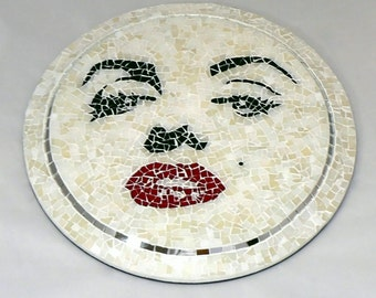 Glass Mosaic Wall Hanging - Marilyn Monroe - A Popular Graphic Reproduction / White / Black / Artisan