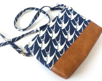 Bird Purse, Gift Idea, Vegan Purse, Trending Now, Navy Bag, Sparrow Fabric, Crossbody Bag, Everyday Bag