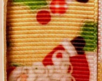 "2 Yards 7/8"" Vintage Santa Grosgrain Ribbon Print"
