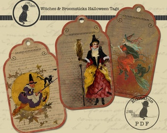 Halloween Tags, Witch Tags, Hang Tags, Vintage Halloween Tags, Digital Tags, Editable Tags, Collage Sheet