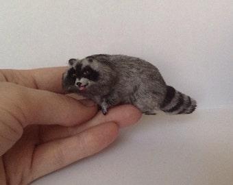 Miniature Raccoon 1:12  Dollhouse Raccoon  Clay Raccoon  Sculpted Raccoon  Mini Raccoon  Miniature Animals  Dollhouse Animals. TO ORDER!!!