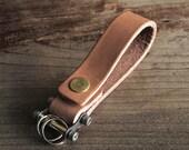 Keychain 02 / Natural  Genuine Leather, Key Holder, Key Fob, Leather Strap,
