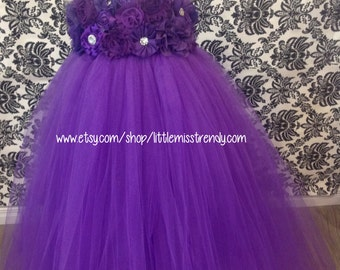 Purple Flower Girl Dress, Purple Tutu Dress, Purple Tutu Dress, Purple Couture Tutu Dress, Purple Couture Flower Girl Dress, Flower Girl