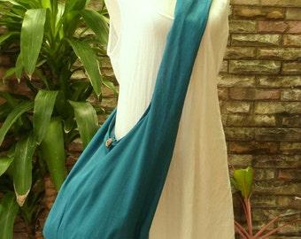 X Large Crossbody Bag Woman Girl Hippie Hobo Boho Vegan Messenger Cross Body Cotton Bag with Zipper Plain Teal Turquoise
