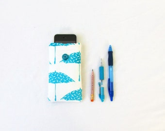 Umbrella Iphone case, hand printed fabric, small cell phone sleeve, iphone cover, Iphone 5s 5c 4s, samsung galaxy s2, handmade in the UK