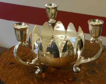 F.B. Rogers Silver Plate Lotus Centerpiece. Italy.