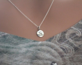 sterling silver simple s initial necklace silver stamped s necklace stamped s initial necklace small s initial necklace s initial charm