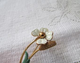 Vintage shabby chic enamel flower brooch with cattail estate find