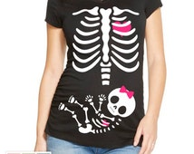 Halloween Maternity Shirt Girl With Pink Bow Iron Transfer INSTANT DOWNLOAD
