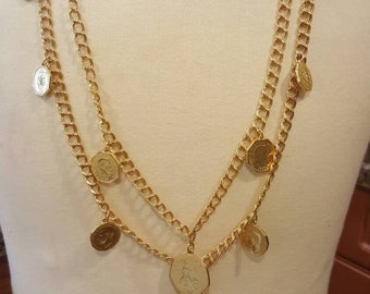 FREE  SHIPPING  Vintage Gold Coin Necklace