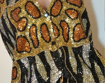 FREE  SHIPPING   1980  Sequin  Vest