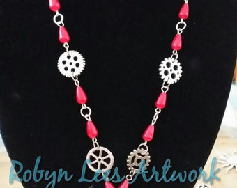 SALE Silver Human Heart Anatomically Correct Necklace with Cogs and Gears and Red Pearl Drop Beads