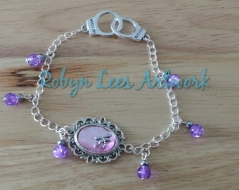 Mini Dragonfly Pink Gem Silver Cabochon Bracelet with Purple Beads and Handcuff Clasps