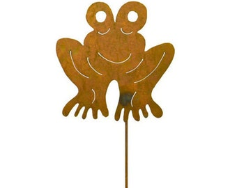 Frog Metal Garden Stake, Yard Art GS30