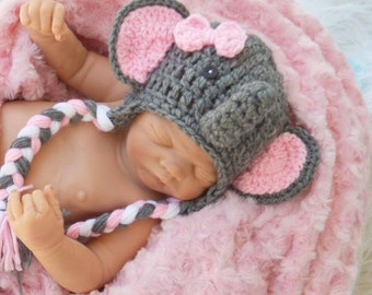pink elephant hat, girl elephant hat, newborn elephant hats, elephant hat, elephant hats, elephant photography prop, pink and gray hats,