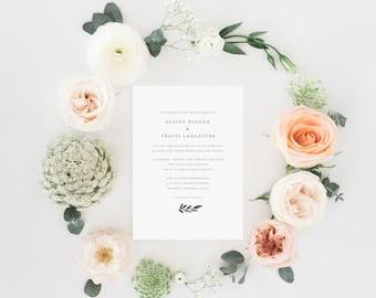 Printable Wedding Invitation Set | Simple Leaf Invite | Basic Wedding Invitation | Invitation Suite | Minimalist Wedding Invitation | WI-018