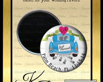 "2.25"" Custom Wedding Magnet, Wedding Favors, Just Married Wedding Favor, Custom Wedding Favors, Wedding Keepsake, Refrigerator Magnet,"