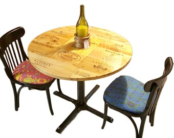 Wine Crate Cafe Table and 4 Chairs | Rustic Reclaimed Wood Table | Apartment Dining Set | Gifts for Wine Lovers | Kitchen Table | 4 Chairs